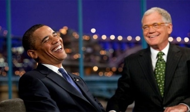 "David Letterman with US President Barack Obama on the on the ""Late Show with David Letterman"""